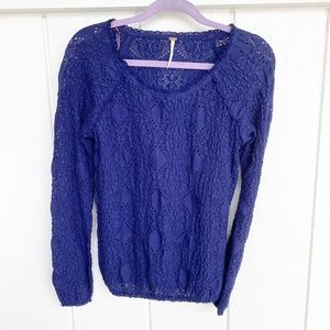 🚘MOVING🚘 Free People Royal Blue Lace Top M